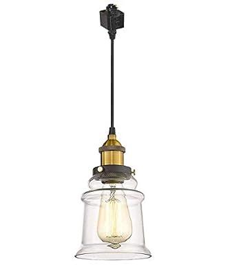 Kiven H-Series Track Lighting Kitchen Pendant Light - Clear Glass Shade Industrial Hanging Lamp, 1-Light