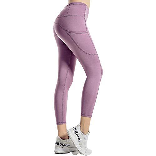 unknow LYCZDP Pantalones De Yoga De Cintura Alta para Mujer, Pantalones Deportivos De Yoga De 6 Bolsillos, Ropa Deportiva para Correr, Mallas De Entrenamiento EláSticas con Control De Barriga