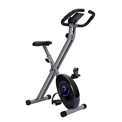 Bicicleta Estática Plegable Keboo Serie 300 Magnética con Pulsómetro de Manillar, 8 Niveles, Asiento Ajustable y Pantalla LCD