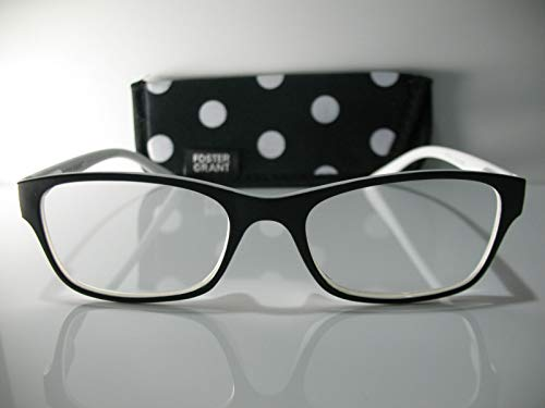 Foster Grant Lucille Women Black White Reading Glasses+1.50