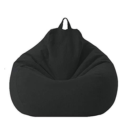 Soft Sitzsack Stühle Für Kinder Und Erwachsene Lazy Lounge Storage Sitzsack Stuhlbezug Ungefüllte Stofftier-Aufbewahrung Sofa Sitzsäcke Kuscheltier Aufbewahrung Indoor Outdoor,Schwarz,80*90cm