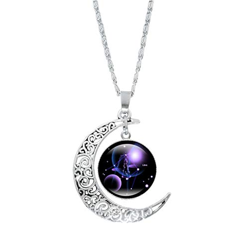 DOYCE Fashion 12 Zodiac Constellation Necklace Astrology Galaxy& Crescent Moon Glass Bead Pendant Necklace,Crystal Jewelry Gifts for Men Jewelry Set Birthday&Christmas,Valentine's Day (Libra)