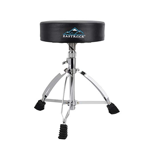 EastRock Height Adjustable Rotatable Drum Throne Padded Drum Seat drumming Stools with Anti-Slip Feet for Adults and Kids, Black