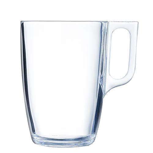 Luminarc Nuevo Set 6 tazas desayuno mugs café de vidrio para microondas 40cl, Negro
