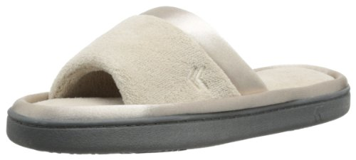 isotoner Women's Microterry Slide Slipper with Satin Trim, Stone, 7.5/8