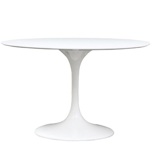 Modway Lippa 48 Inch Round Fiberglass Dining Table in White