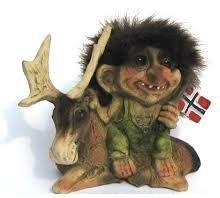 Nyform Trolls Original Handmade Norway Sitting on Moose Waving Norwegian Flag