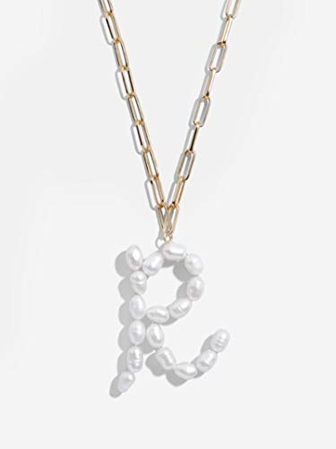 Bluesteer Freshwater Pearl Initial Pendant 22 Letter Thick Chain Link Necklace for Women,A1099-R