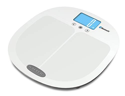SALTER Curve Analysewaage mit Bluetooth, Verbinden Sie Smartphone und Waage um Fortschritte zu tracken, Step-On, Körperfett, Wasseranteile, Muskelmasse, BMI, BMR