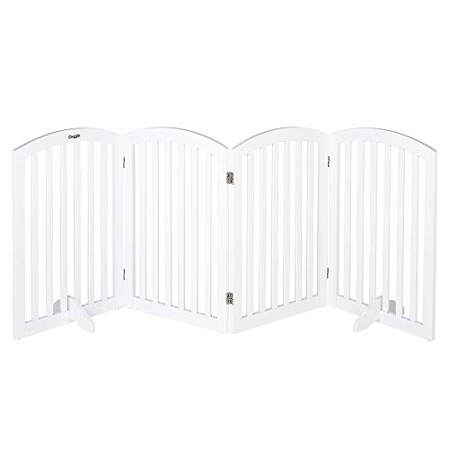 """Bonnlo Free Standing 30"""" Tall Dog Gates for Doorways Indoor Stairs Wooden 4 Panel Pet Gate 