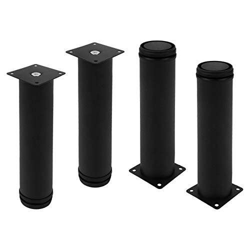 Geesatis Height 250 mm / 10 inch Adjustable Furniture Legs Stainless Steel Sofa Legs Kitchen Cabinet Feet Replacement Part, with Mounting Screws, Black, 4 Pack