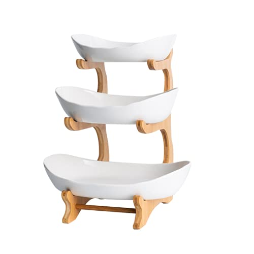 Frutero de cerámica con soporte de bambú natural, 3...