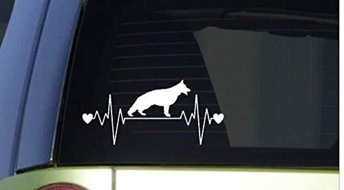 Yilooom Duitse Herder Heartbeat Decal Vinyl Sticker|Auto's Trucks Vans Muren Laptop| Wit |7.5 X 3.5 In