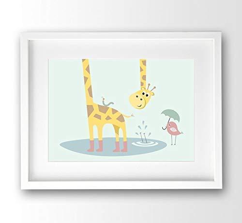 Kinderzimmer Bild Giraffe und Freunde pastell, A4 ohne Rahmen, Babybild Tierposter mint