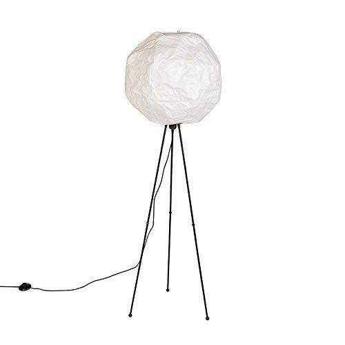 QAZQA Moderno Lámpara de pie papel escandinavo blanco - PEPA BALL/Acero Alargada Adecuado para LED Max. 1 x 11 Watt