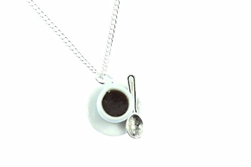 Miniblings Kaffeetasse Porzellan Kaffee Tasse Halskette - Handmade Modeschmuck I Kette mit Anhänger Länge: 45cm - Café Teetasse mit Löffel