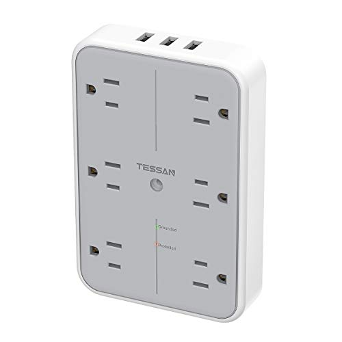USB Wall Charger, Multi Outlet Extender Surge Protector, TESSAN 6 Electrical Outlets Expander with 3 USB Charging Ports, 1080 Joules Multiple Plug Splitter for Bathroom Dorm Room Office