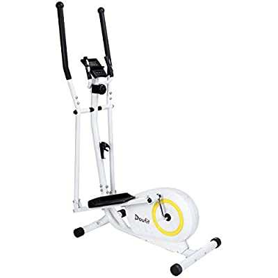 Doufit Elliptical Machine for Home Use, EM-01 Eliptical Exercise Machine for Fitness Gym Workout, Indoor Adjustable Magnetic Elliptical Cross Trainer with LCD Monitor and Pulse Sensors