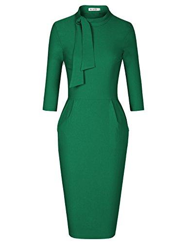 MUXXN Womens 50s 60s Elbow Sleeves High Wasit Pocket Midi Pencil Dress (Green L)