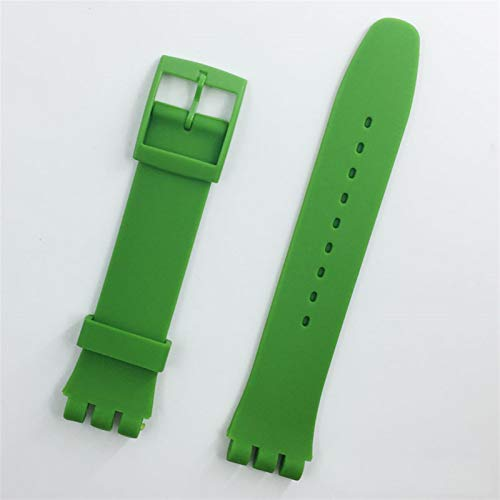 QMYZ Watchband Strap Buckle For SWATCH Silicone Watch band 17mm 19mm 20mm Rubber Strap16MM Watch accessories 10688 (Band Color : Green, Band Width : 17mm)