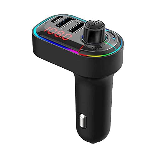 TRANSMETTEUR FM Bluetooth 5.0 Lumineux USB-C Voiture Chargeur Charge Ultra Rapide EMETTEUR KIT Musique Allume Cigare Automatique COMPATIBILITE Tous Bluetooth Marque FRANÇAISE
