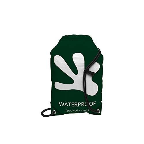 geckobrands Waterproof Drawstring Backpack - Lightweight Packable Cinch Dry Bag (Hunter Green/White)