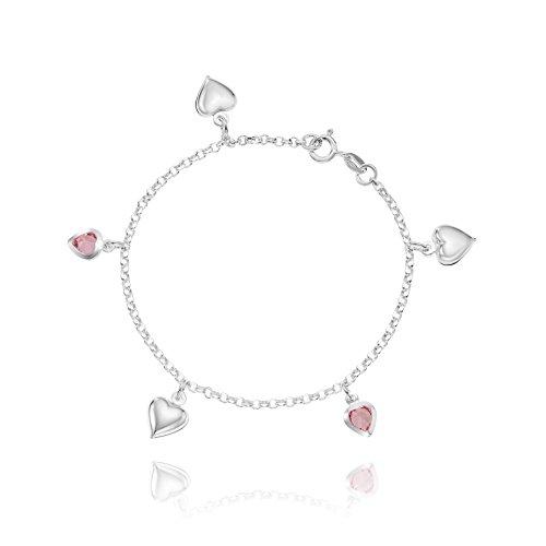 LillyMarie Pulsera para mujer o niña, plata de ley 925, elementos de cristal con corazones rosas, longitud ajustable, bolsa de satén, pequeños regalos