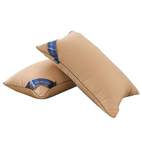 POHLOOW Almohada de Cama de Tela de algodón Juego de 2 Almohadas de Hotel de Cinco Estrellas Hilton Almohadas de Cama de Plumas Suaves de Baja Densidad for el estómago y la Espalda
