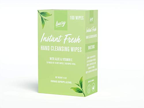 Busy Beauty   Aloe Hand Cleansing Wipes with Isopropyl Alcohol and Vitamin E   10 Packs of 10 Wipes
