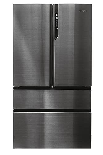 Haier Iconic Black HB26FSNAAA - Frigorífico americano con cajones en congelador, Motor Inverter, 1m Ancho, Libre Instalación, Acero Negro, Clase E