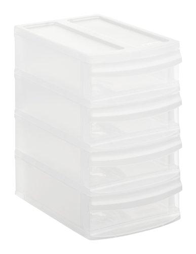 Rotho Systemix Schubladenbox mit 4 Schüben, Kunststoff (PP), transparent, Gr. XS / A6 (19,6 x 14 x 23,3 cm)