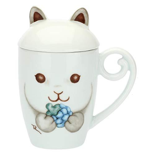 THUN - Tazza Colazione Mug Scoiattolo con Coperchio per tè, caffè, Tisana e Ciocolata Calda - Accessori Cucina - Linea Preludio d'inverno - Porcellana - 300 ml