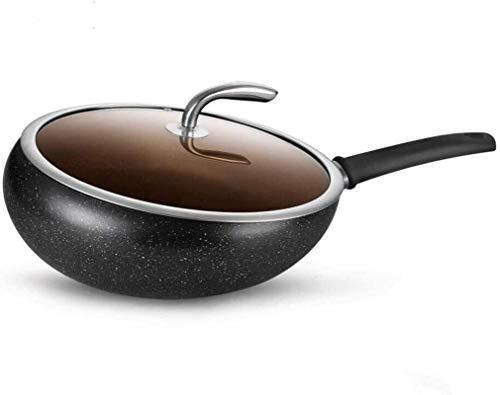 TINGFENG Wok Iron Pan Utensilios de cocina Hogar Sin Stick Pan Wok Inducción Cocina Estufa General General Sartén sin humo