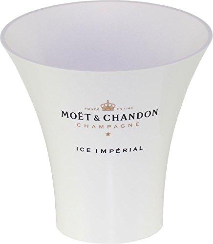 Moët & Chandon Ice Impérial Champagner Flaschenkühler Trendy (weiss mit schwarz/gold Aufdruck) Eiswürfel Behälter für 0.75 l oder 1.5 l Flasche inkl. 10 Untersetzer