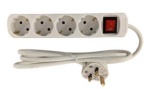 UK Euro Travel Adapter Adapter Art E/F Verlängerungskabel 4 Wege Schuko Typ G Steckdosen mit UK-Stecker