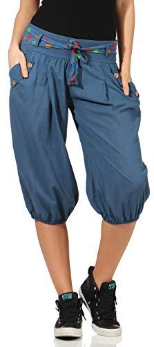 Malito Mujer Corto Bombacho Pantalón con Cinturón Baggy Aladin Yoga Pants 3416 (Color de Tejano)