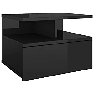 vidaXL Mesita de Noche Flotante de Aglomerado Hogar Decoración Diseño Sencillo Elegante Funcional Práctico Compacto Útil Negro Brillante 40x31x27cm