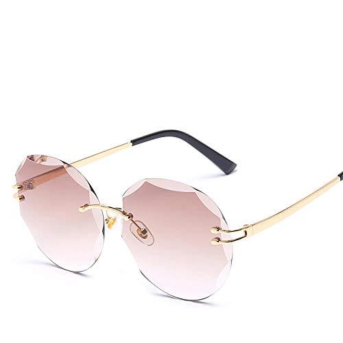 Sonnenbrille Mode Stilvolle Randlose Sonnenbrille Für Frauen Runde Coole Brille Trend Optische Uv400 Eyewear-Gradient_Brown_8