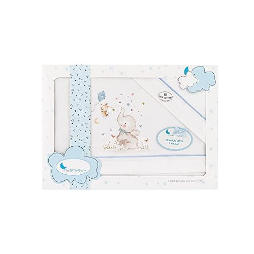 Triptico Sabanas 100% Algodón Minicuna 50X80 - (bajera+encimera+funda almohada) (Elefante azul)