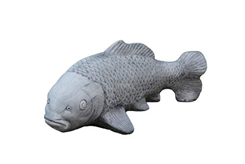 gartendekoparadies.de Großer Koi Fisch Farbe schwarz Buddha Feng-Shui aus Steinguss, frostfest