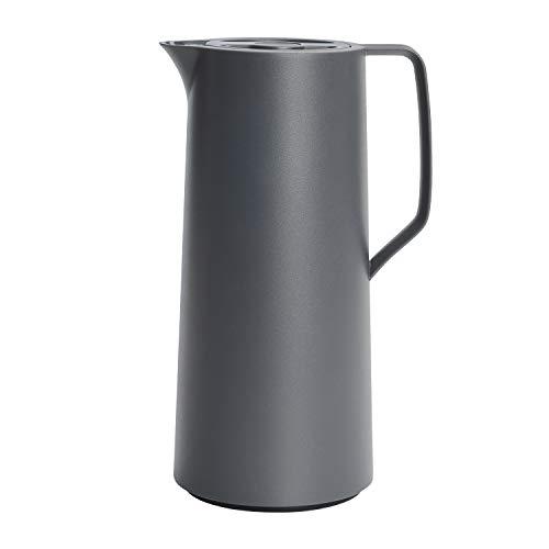Emsa N41701 Motiva Isolierkanne | 1 Liter | Quick-Press-Verschluss | 12h heiß, 24h kalt | Glaskolben | Made in Germany | Nordisches Design | Anthrazit