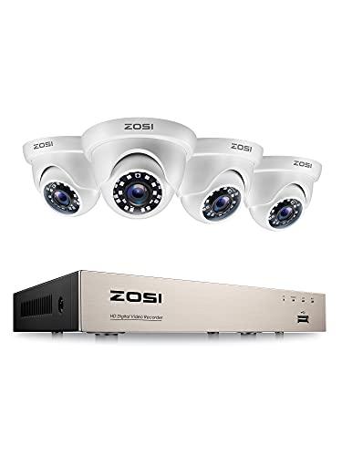 ZOSI Kit de Cámara de Vigilancia 8CH H.265+ 2MP Videograbador DVR con (4) Cámara de Seguridad Exterior, Visión Nocturna, Detección de Movimiento, sin Disco Duro