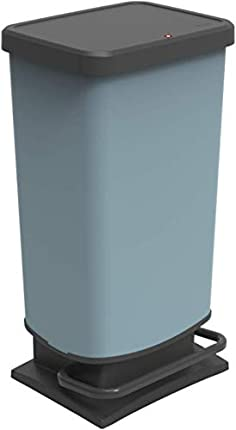 Rotho Paso, Cubo de basura de 40 litros con tapa, Plástico PP sin BPA, azul, 40l 35.3 x 29.5 x 67.6 cm
