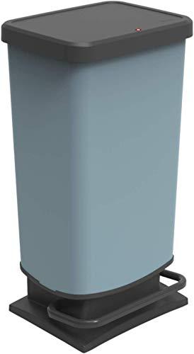 Rotho Paso Mülleimer 40l mit Deckel, Kunststoff (PP recycelt) BPA-frei, blau, 40l (35,3 x 29,5 x 67,6 cm)