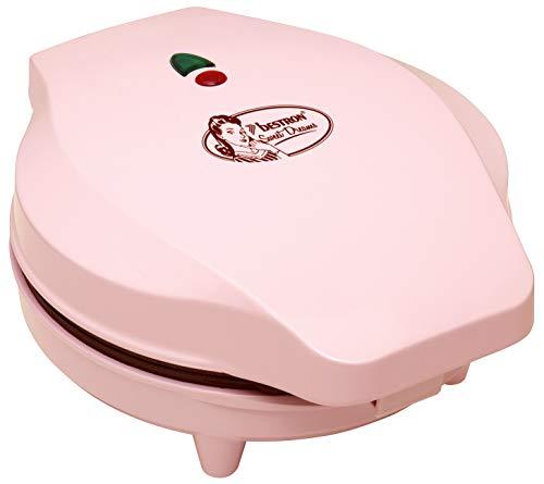 Bestron Gaufrier pour des gaufres en forme de cœur, Design rétro, Sweet Dreams, 700 W, Rose