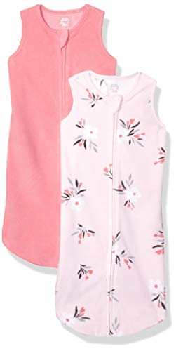 Amazon Essentials 2-Pack Microfleece Baby Sleep Sack infant-and-toddler-sleepers, Rosado Floral, 0-6 Meses