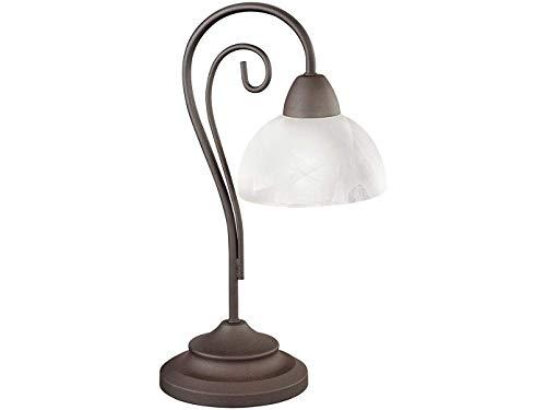 LED Tischleuchte Landhausstil 1 flammig Metall rostfarbig Glasschirm Alabaster Höhe 40cm - Tischlampe
