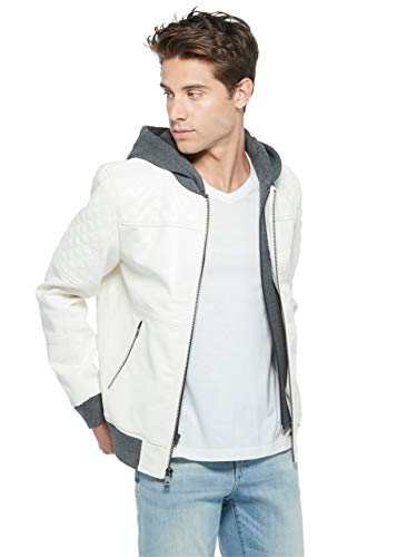 GUESS Factory Men's Timmy Faux-Leather Hooded Moto Jacket