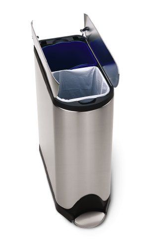 simplehuman Butterfly Step Recycler, Fingerprint-Proof Brushed Stainless Steel, 20+20-Liter/ 5.3+5.3-Gallon