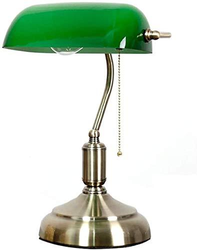 Lámpara de escritorio Lámpara de banquero retro Lámpara de escritorio de estilo antiguo Pantalla de vidrio verde esmeralda con base de latón satinado e interruptor de cordón con cuentas de metal